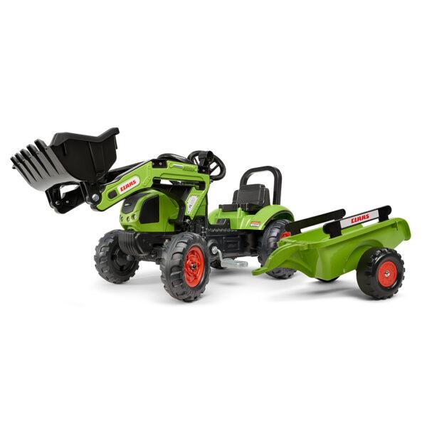 Tractor de pedales CLAAS ARION 410 con pala y remolque