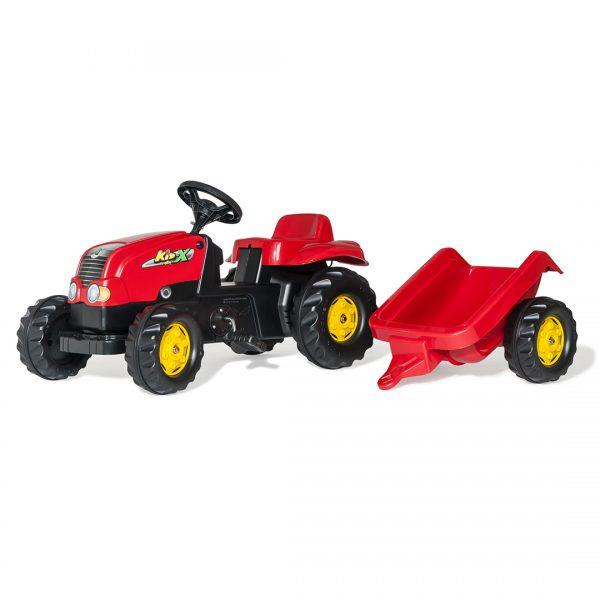 Tractor de Pedales rollyKid-X Verde con remolque