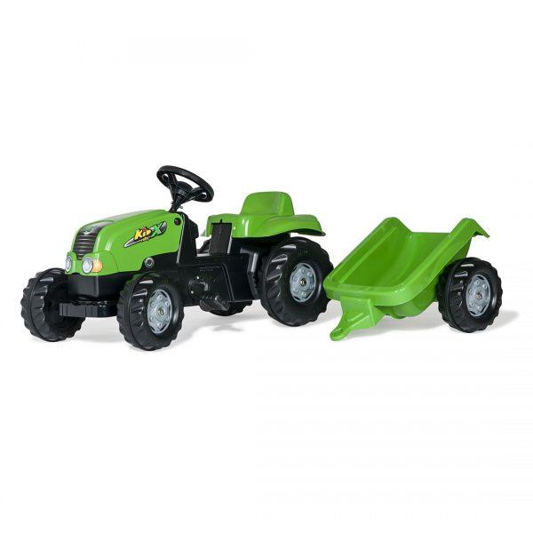 Tractor de Pedales rollyKid-X Rojo con remolque