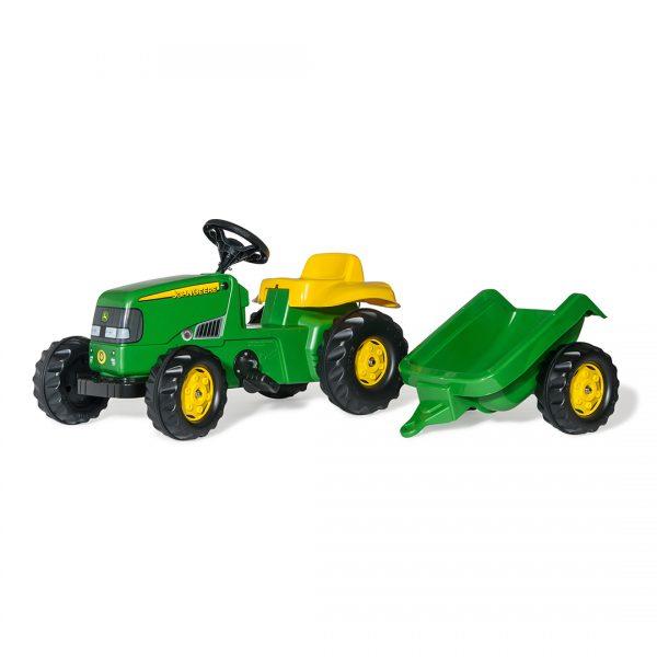 Tractor de Pedales rollyKid John Deere con remolque