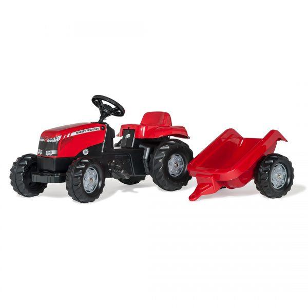Tractor de Pedales rollyKid Massey Ferguson con remolque