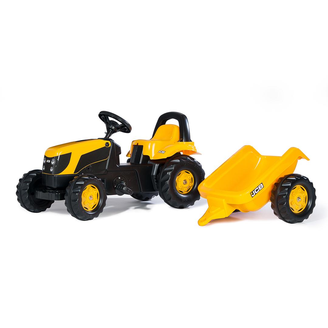 Tractor de Pedales rollyKid JCB con remolque