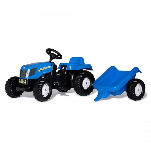 Tractor de Pedales rollyKid New Holland T7040 con remolque