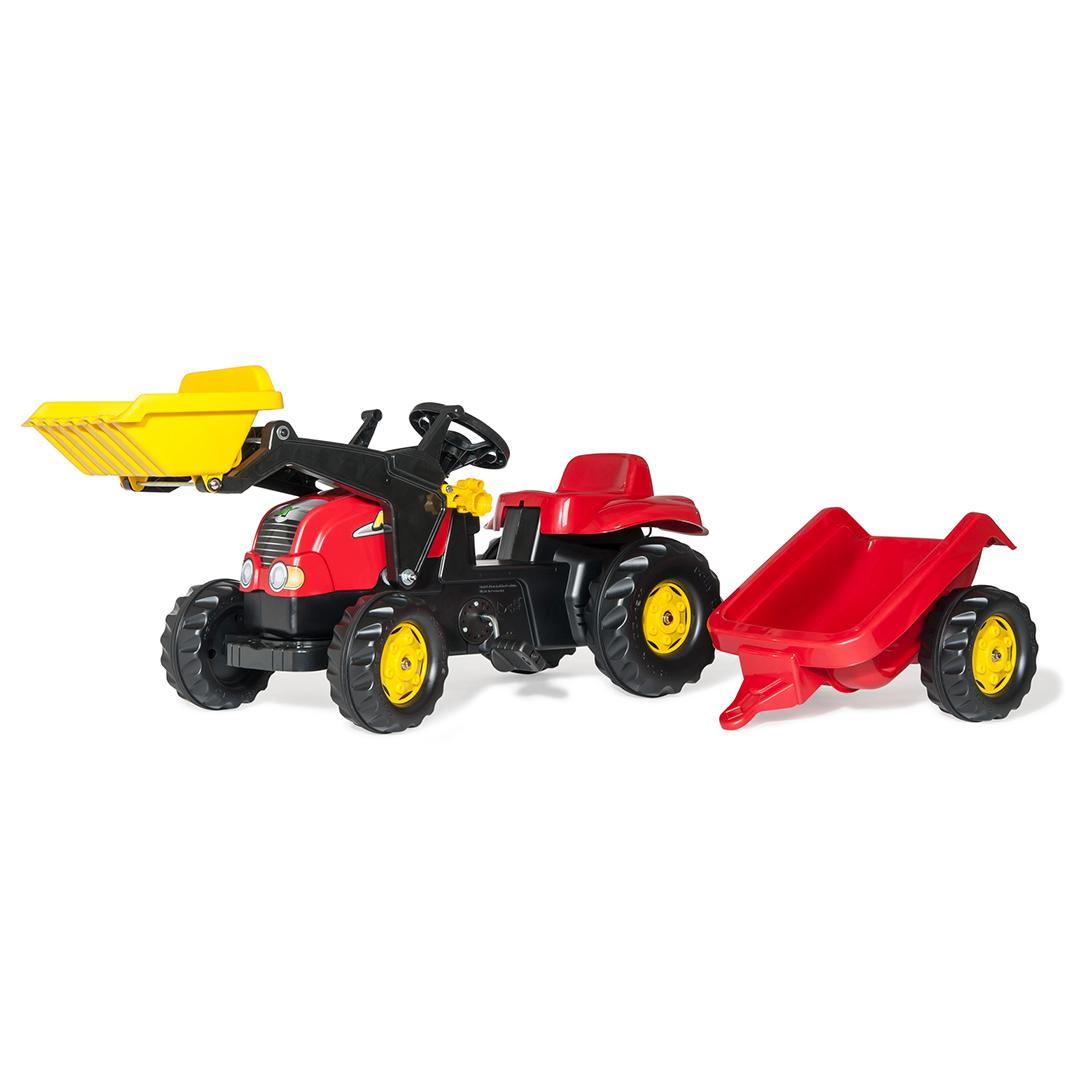 Tractor de Pedales rollyKid-X Rojo con remolque y pala