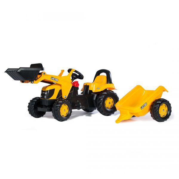 Tractor de Pedales rollyKid JCB con pala y remolque
