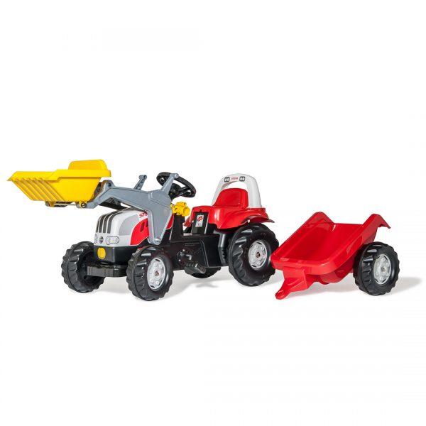 Tractor de Pedales rollyKid Steyr 6165 CVT con pala y remolque