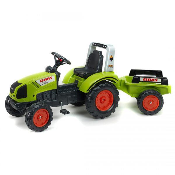 Tractor de pedales Claas Arion 430 con remolque