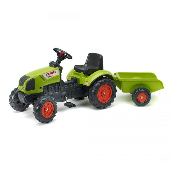 Tractor de pedales Claas Arion 410 con remolque