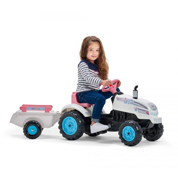 Tractor de pedales Butterfly Farmer con remolque