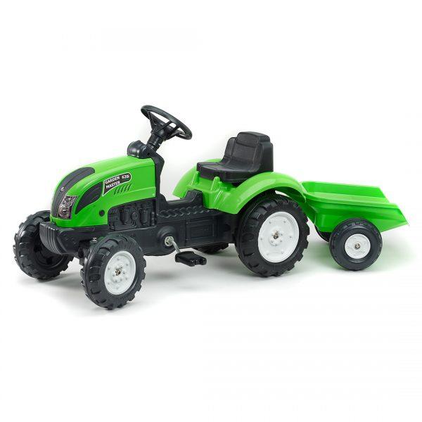 Tractor de pedales Garden Master Verde con remolque