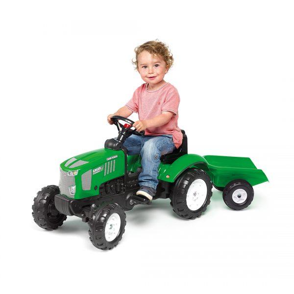 Tractor de pedales Farm Power con remolque