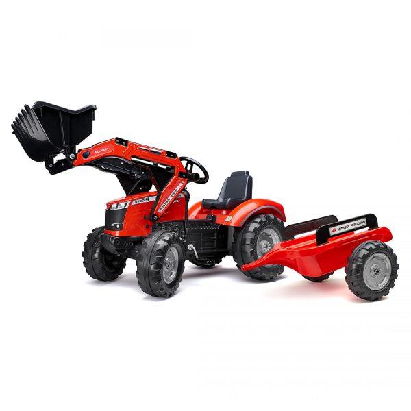 Tractor de pedales Massey Ferguson con pala y remolque