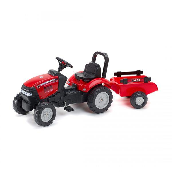 Tractor de pedales Case IH Maxxum 130 CVX con remolque
